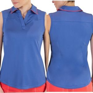 NWT JOFIT tipped polo blue coral tank top shirt XS